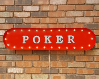 """On Sale! 39"""" POKER Metal Oval Sign - Night Cards Game Fold - Vintage Style Rustic Marquee Light Up"""