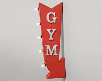 """ON SALE! 25"""" Gym Spin Class Exercise Weights Plug-In or Battery Operated Rustic led Double Sided Rustic Metal Arrow Marquee Light Up Sign"""