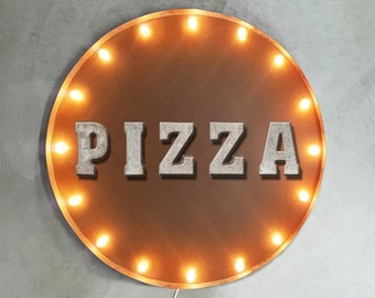 """On Sale! 30"""" BBQ Round Metal Sign - Plugin or Battery Operated -Barbecue Ribs Grill Grilling - Rustic Vintage Marquee Light Up"""