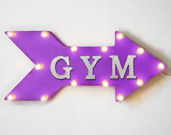 "On Sale! 24"" GYM Straight Arrow Sign - Workout Crossfit Train Training Weights Lift - Rustic Vintage Marquee Light Up"