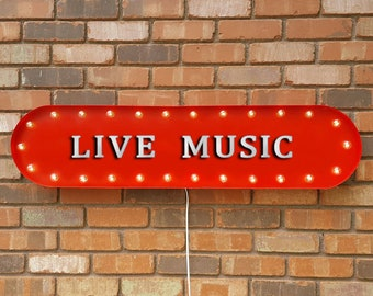 """On Sale! 39"""" LIVE MUSIC Music Band Concert Country Rock Folk Vintage Style Rustic Metal Marquee Light Up Sign"""