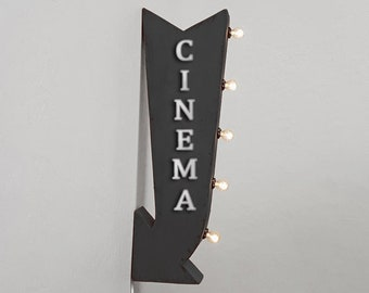 "On Sale! 25"" CINEMA Metal Arrow Sign - Movie Theater Theatre Watch - Plugin Battery Operated Rustic led Double Sided Rustic Marquee Light Up"