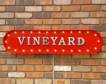 "ON SALE! 39"" VINEYARD Wine Winery Grapes Glass Alcohol Vintage Style Rustic Metal Marquee Light Up Sign - 22 Color Options!"