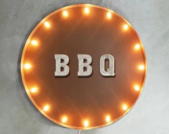 """On Sale! 30"""" BBQ Round Metal Sign - Plugin or Battery Operated - Eat Ribs Meat Barbecue Restaurant Drink - Rustic Vintage Marquee Light Up"""