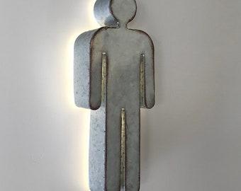 Rustic Metal Bathroom Restroom Door Male Gender Boy Mr & Mr His and His Symbol Wedding Sign Prop Light Up Sign - 15 COLORS!