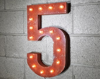 ON SALE! Plug-In Number 5 Five. 14 Color Options! Rustic Metal Marquee Light Up Sign. We have ALL the numbers 0 1 2 3 4 5 6 7 8 9