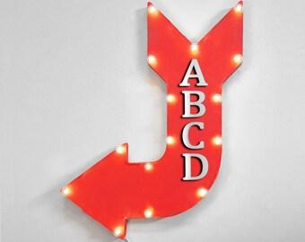 "On Sale! 24"" BAR Curved Metal Arrow Sign - Pub Tavern - Rustic Vintage Marquee Light Up"
