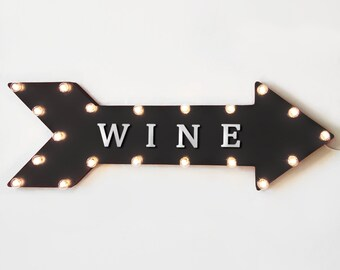 """On Sale! 36"""" WINE Metal Arrow Sign - Plugin, Battery or Solar - Glass Bar Tasting Vineyard Winery Alcohol - Rustic Marquee Light Up Sign"""