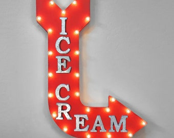 "On Sale! 36"" ICE CREAM Metal Arrow Sign - Plugin or Battery Operated - Dessert Dairy Yogurt Parlor - Rustic Marquee Light up"