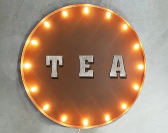 """On Sale! 30"""" TEA Round Metal Sign - Plugin or Battery Operated - Shop Coffee Pastry Bakery - Rustic Vintage Marquee Light Up"""