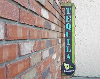 On Sale! TEQUILA Metal Sign - Plugin or Battery Operated - Cocktails Shots Bar Brewery - Double Sided Rustic Vintage Style Marquee Light Up