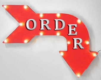 """On Sale! 24"""" ORDER Curved Metal Arrow Sign - Pick Up Food Order Here This Line  - Plugin, Battery or Solar - Rustic Vintage Light Up Marquee"""
