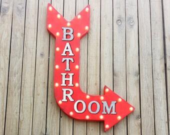 "On Sale! 36"" BATHROOM Metal Arrow Sign - Plugin or Battery Operated - Restroom Men's Women's Restaurant Store Shop - Rustic Marquee Light up"