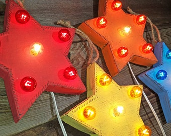 "On Sale! 9"" Whimsical Metal Christmas Star - Rustic Vintage Inspired Marquee Sign Light"