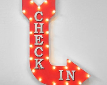 """On Sale! 36"""" CHECK IN Metal Arrow Sign - Plugin or Battery Operated - Hotel Motel Key Card Resort Reservations - Rustic Marquee Light up"""