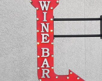 """On Sale! 48"""" WINE BAR Metal Arrow Sign - Red Winery Champagne Vineyard Cheers Drink - Double Sided Hang or Suspend - Rustic Marquee Light Up"""