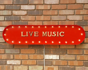"On Sale! 39"" LIVE MUSIC Music Band Concert Country Rock Folk Vintage Style Rustic Metal Marquee Light Up Sign"