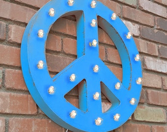"On Sale! 21"" PEACE SIGN Symbol - Plugin, Battery or Solar - Rustic Metal Vintage Style Light Up Marquee Sign - Hang or Free Standing."