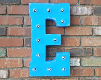 """On Sale! 21"""" Letter E Metal Sign - Solar Powered - Rustic or Non-Rustic - Custom Vintage Style Marquee Steel LED Light Up"""