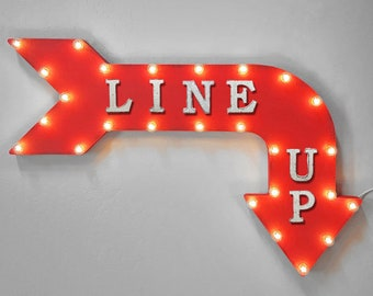 """On Sale! 36"""" LINE UP Metal Arrow Sign - Plugin or Battery Operated - LineUp Form Line Starts Here Wait - Rustic Marquee Light up"""