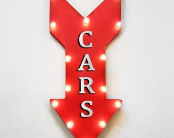 "On Sale! 24"" CARS Straight Metal Arrow Sign - Auto Car Exhibit Exhibition Showcase Case Display - Rustic Vintage Marquee Light Up"