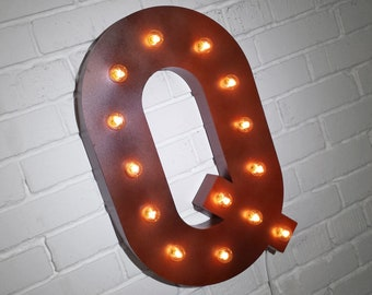"""ON SALE! 21"""" Metal Letter Q - Plugin, Battery Operated or Solar Powered - Rustic Nostalgic Vintage Style - Light Up Marquee Letter Sign."""