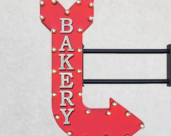 "ON SALE! 36"" BAKERY Plugin Double Sided Cakes Bake Muffins Pastries Baked Goods Bread Light Up Large Rustic Metal Marquee Sign Arrow"