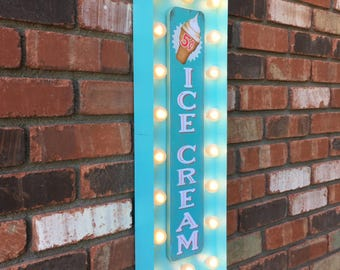 "On Sale! 24"" Metal ICE CREAM Sign - Cone Eat Sweet Treat Dessert - Vintage Style Store Frozen Rustic Marquee Light Up"