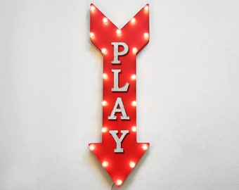 "On Sale! 36"" PLAY Metal Arrow Sign - Plugin or Battery Operated Led - Playroom Gameroom Game Room Arcade Games - Rustic Marquee Light up"