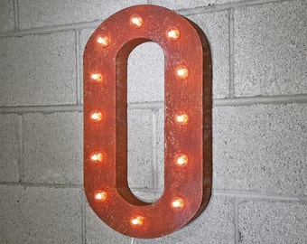 ON SALE! Plug-In Number 0 Zero. 21 Color Options! Hang or Free Stand. Rustic Metal Marquee Led Light Up Sign. 0 1 2 3 4 5 6 7 8 9