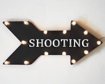 "On Sale! 24"" SHOOTING Straight Metal Arrow Sign - Shoot Bows Arrows Target Practice Range Guns - Rustic Vintage Marquee Light Up"