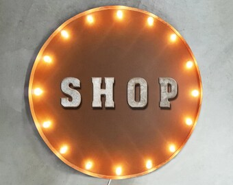 """On Sale! 30"""" SHOP Round Metal Sign - Plugin or Battery Operated - Store Sale Discount Buy Sell Welcome - Rustic Vintage Marquee Light Up"""