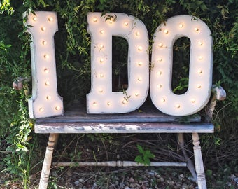 "On Sale! 21"" I DO Metal Sign - Vintage Love Eternity Wedding Prop Just Married - Rustic Vintage Style Marquee Light Up Letters"