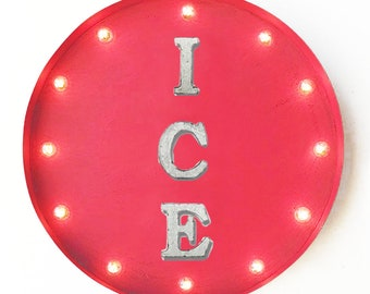 "On Sale! 20"" ICE Round Metal Sign - Plugin or Battery Operated - Iced Cold Drinks Refreshments Cold - Rustic Vintage Marquee Light Up"