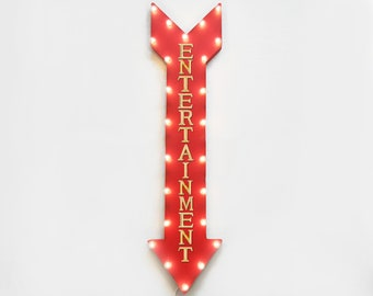 "On Sale! 48"" ENTERTAINMENT Games Movies Play Area Plugin or Battery Operated led Rustic Metal Light Up Arrow Marquee Sign"