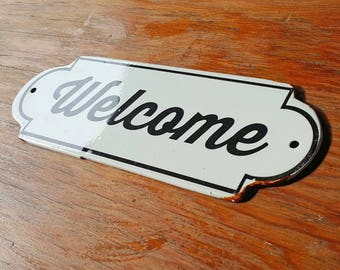 On Sale! - Metal Vintage Antique Porcelain Style WELCOME Open Enter Entrance Door Sign Plaque