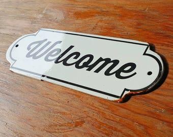 On Sale - Metal Vintage Antique Porcelain Style WELCOME Open Enter Entrance Door Sign Plaque
