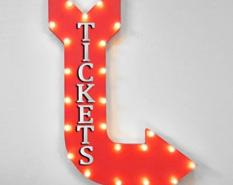 """On Sale! 36"""" TICKETS Metal Arrow Sign - Plugin or Battery Operated - Ticket Booth Admission - Rustic Marquee Light up"""