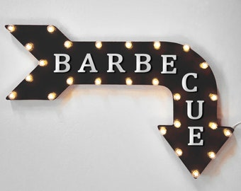"On Sale! 36"" BARBECUE Metal Arrow Sign - Plugin, Battery or Solar - Bbq Grill Restaurant Steak Beef Pork Ribs - Rustic Marquee Light Up Sign"