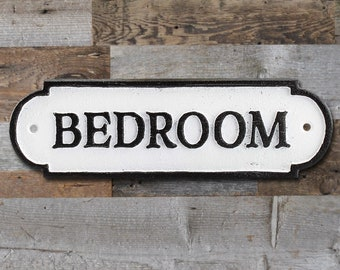 On Sale! - BEDROOM Sign Solid Cast Iron Metal Vintage Antique Style Entry Door Sign Plaque