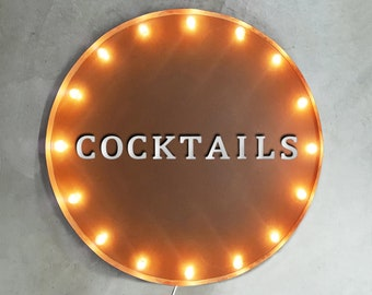 """On Sale! 30"""" COCKTAILS Round Metal Sign - Plugin or Battery Operated - Drinks Bar Tavern Pub - Rustic Vintage Marquee Light Up"""