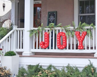 "On Sale! 21"" JOY Metal Sign - Holiday Noel Santa Festive Free Standing or Hang - Rustic Vintage Style Marquee Light Up Letters"