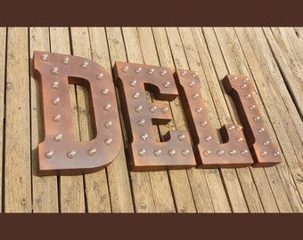 """On Sale! 21"""" DELI Metal Sign - Plugin, Battery or Solar - Meat Sandwich Diner Food Eat Cafe - Rustic Vintage Style Marquee Light Up Letters"""