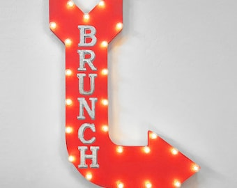 """On Sale! 36"""" BRUNCH Metal Arrow Sign - Plugin or Battery Operated - Breakfast Lunch Meal Food Eat Restaurant - Rustic Marquee Light up"""