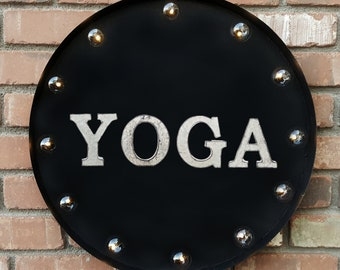 "On Sale! 20"" YOGA Round Metal Sign - Plugin or Battery Operated - Health Fitness Workout Studio - Rustic Vintage Marquee Light Up"