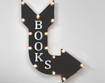 """On Sale! 24"""" BOOKS Curved Metal Arrow Sign - Book Store Read Library School - Plugin, Battery or Solar - Rustic Vintage Light Up Marquee"""