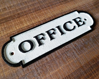 On Sale! - OFFICE Sign Solid Cast Iron Metal Vintage Antique Style Entry Door Sign Plaque
