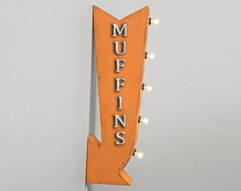"""On Sale! 25"""" MUFFINS Metal Arrow Sign - Cafe Restaurant Diner - Plugin or Battery Operated Rustic led Double Sided Rustic Marquee Light Up"""