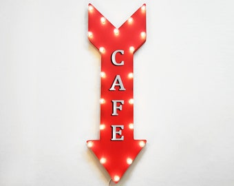 """On Sale! 36"""" CAFE Metal Arrow Sign - Plugin, Battery or Solar - Coffee Shop Sandwiches Bakery Pastries Lunch - Rustic Marquee Light Up Sign"""