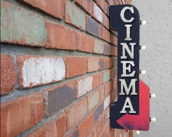 """On Sale! 30"""" CINEMA Metal Arrow Sign - Plugin or Battery Operated - Movie Movies Theater Theatre - Double Sided Rustic Marquee Light Up"""